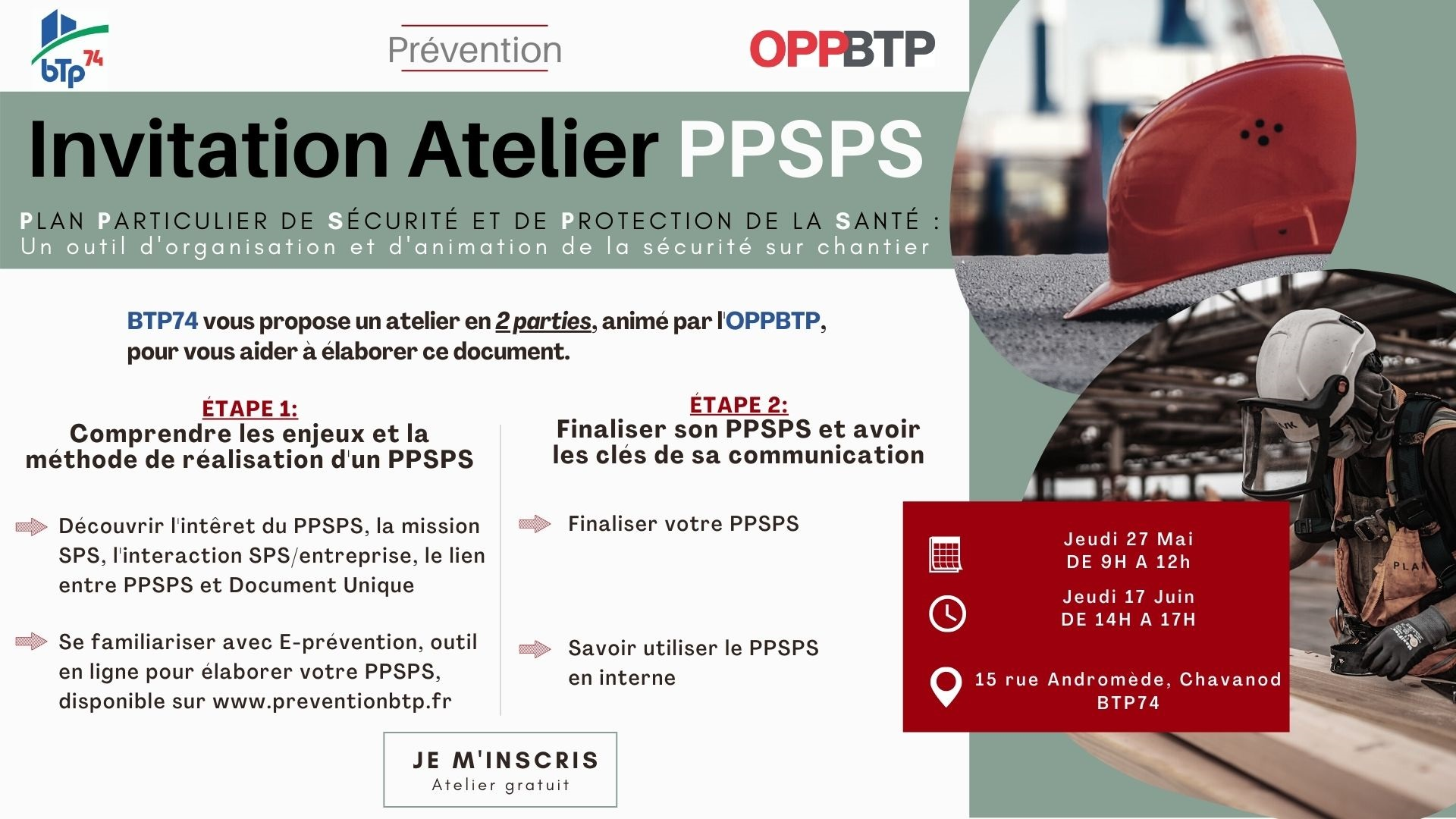 Ateliers, Fédération BTP74 & OPPBTP